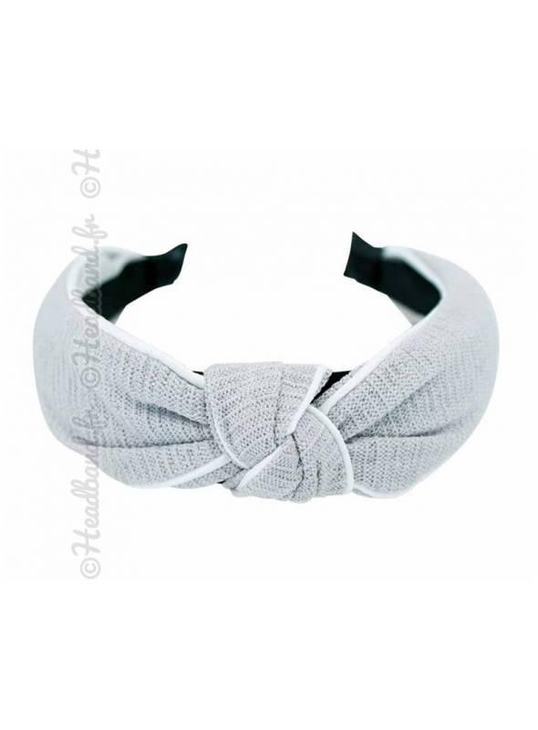 Serre-tête turban estival uni gris