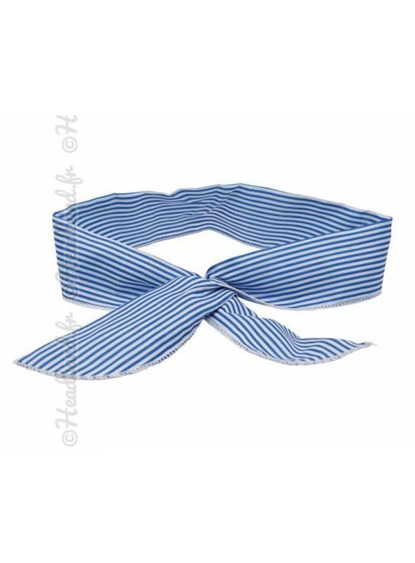 Bandeau fil de fer rayé bleu