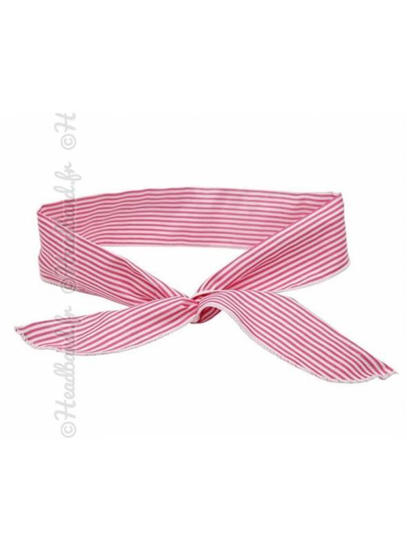 Bandeau fil de fer rayé rose