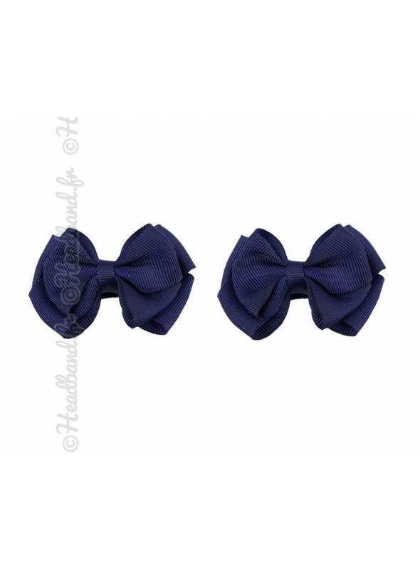 Barrette nœud pince clip bleu marine 10 cm