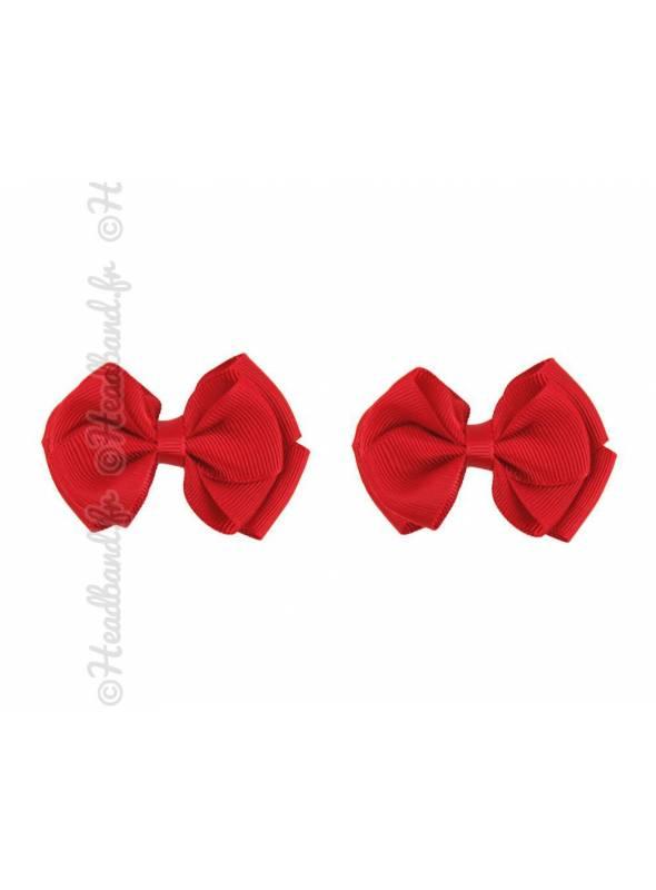 Lot de 2 barrettes nœud pince clip rouge 7 cm