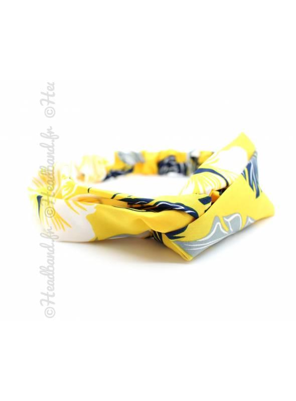 Bandeau turban motif tropical jaune
