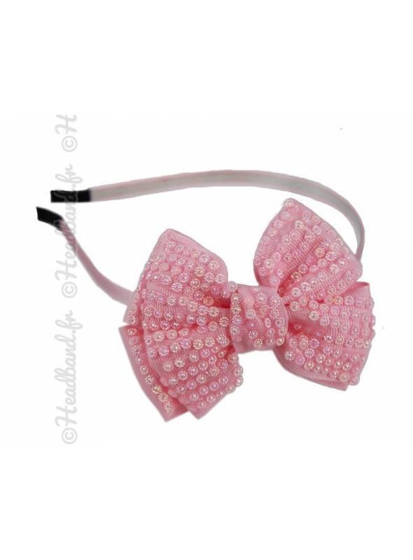 Serre-tête noeud décoré de perles rose