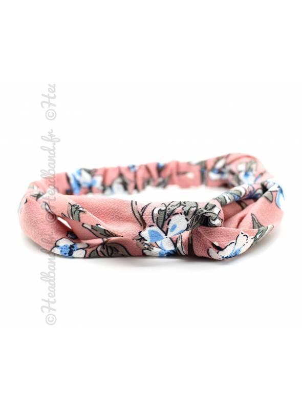 Bandeau jersey motif fleuri rose