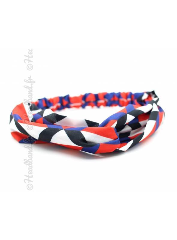 Bandeau cheveux motifs graphiques tricolore