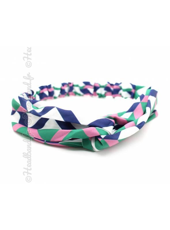 Bandeau cheveux motifs graphiques rose vert bleu