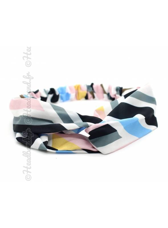 Bandeau cheveux imprimés géométriques