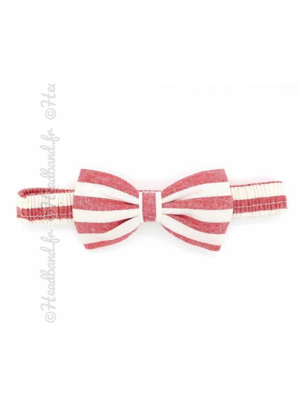 Bandeau noeud rayé rouge