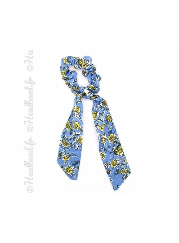 Chouchou motif fleuri bleu ciel à nouer