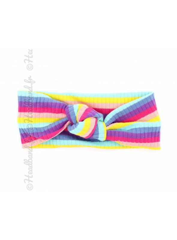 Bandeau noué rayé fille multicolore