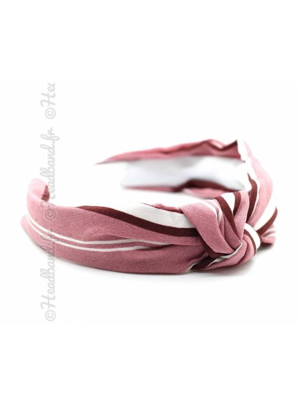 Serre-tête turban noué rose rayé