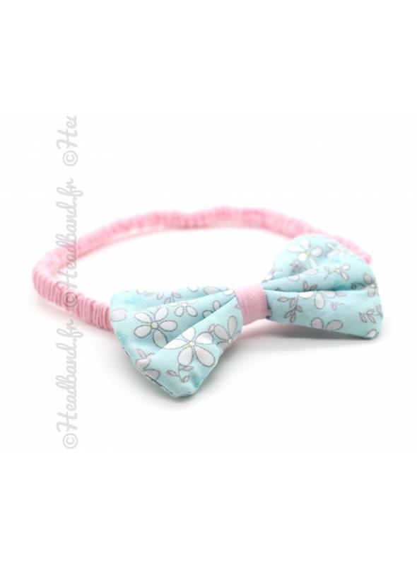 Bandeau noeud enfant coton bleu et rose