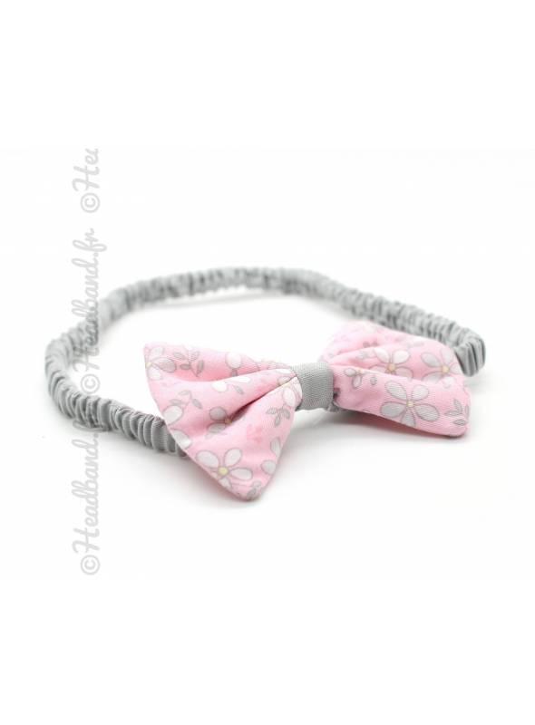 Bandeau noeud enfant coton gris et rose