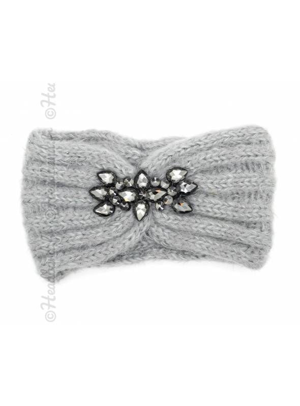 Bandeau maille douce strass gris clair