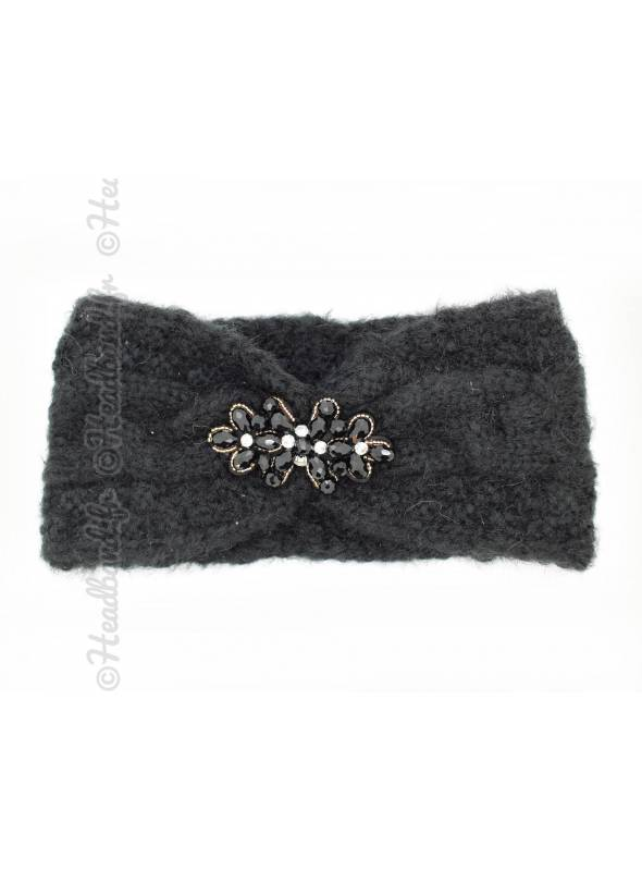 Turban hiver bijou perles noir