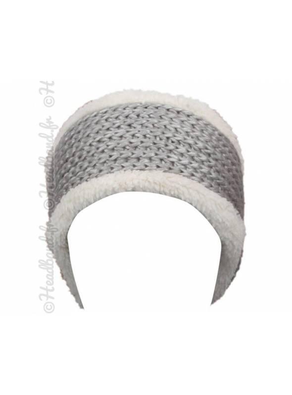 Bandeau laine gris doublé polaire