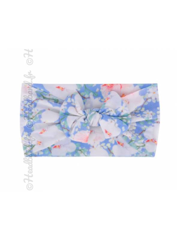 Bandeau noeud fillette floral blanc et bleu