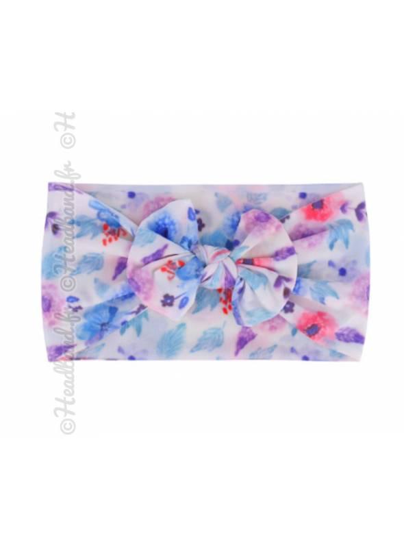 Bandeau noeud fillette délavé bleu et violet