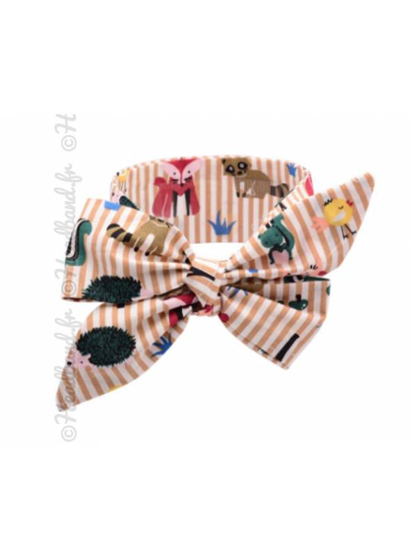 Bandeau noeud large motif animaux