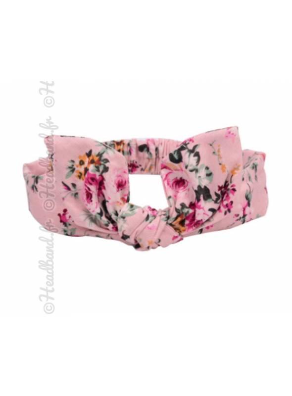 Bandeau fille en coton fleuri rose