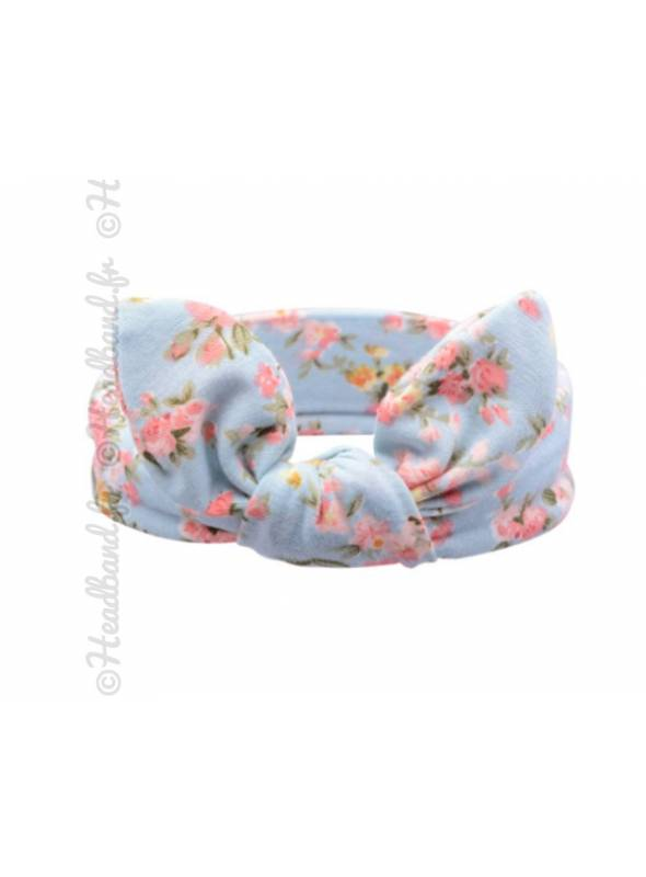 Bandeau fille en jersey floral bleu ciel