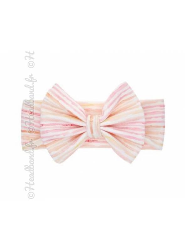 Bandeau large noeud stretch rayé pastel