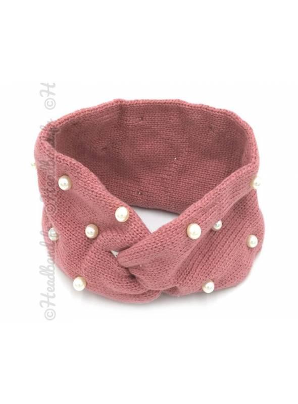 Bandeau laine orné de perles rose