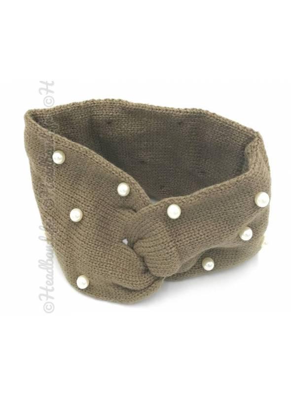 Bandeau laine orné de perles taupe