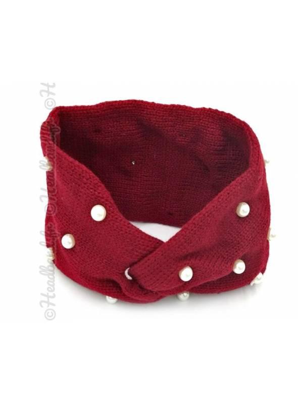 Bandeau laine orné de perles bordeaux
