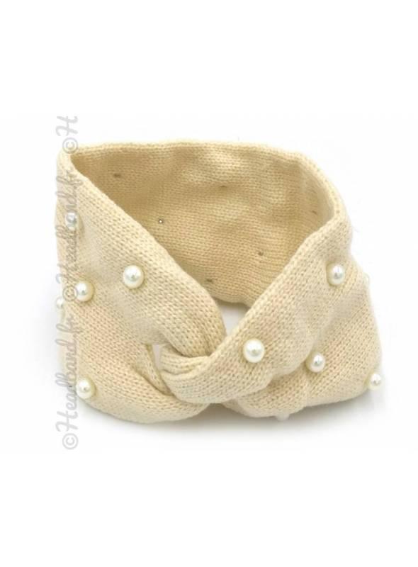 Bandeau laine orné de perles vanille