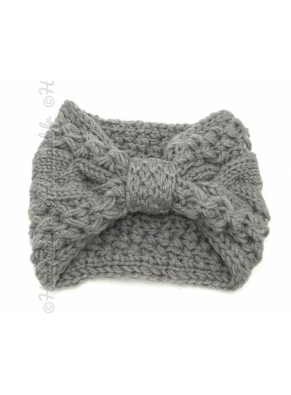 Bandeau torsadé laine effet noeud gris