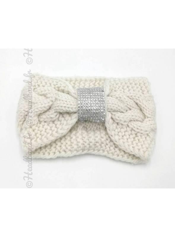 Headband tricot boucle strass blanc
