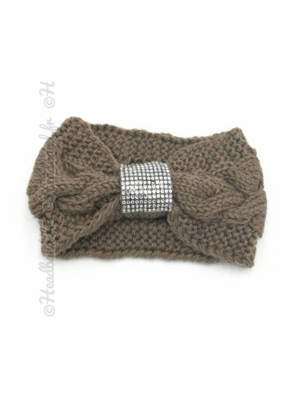 Headband tricot boucle strass taupe