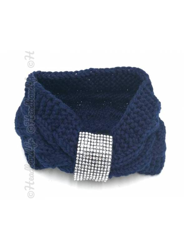 Headband tricot boucle strass marine