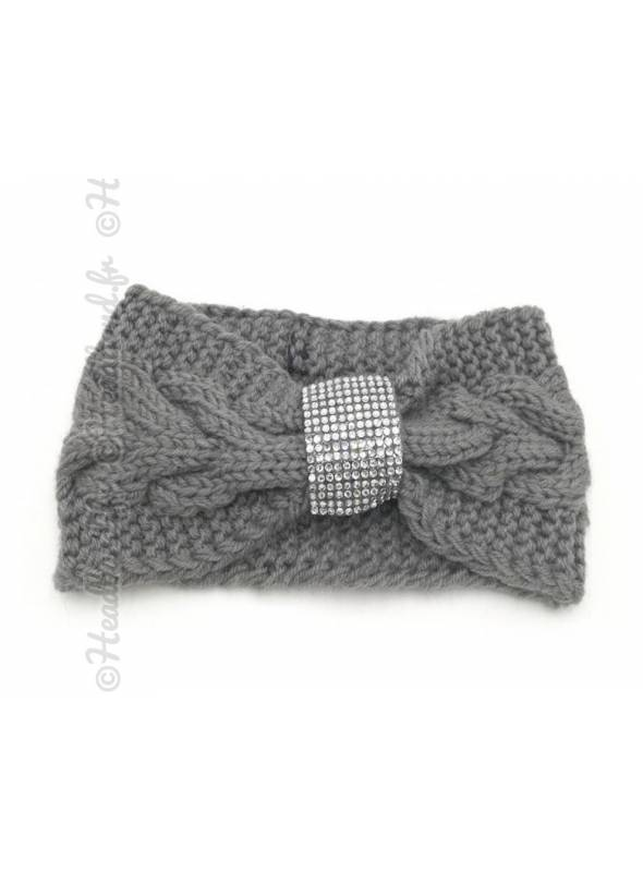 Headband tricot boucle strass gris