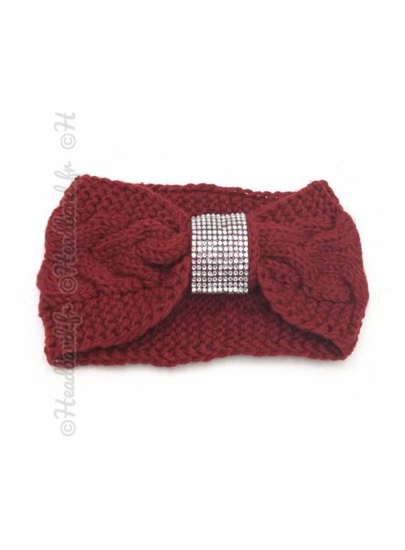 Headband tricot boucle strass bordeaux