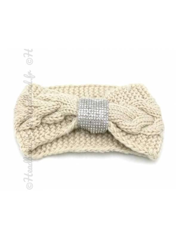 Headband tricot boucle strass crème