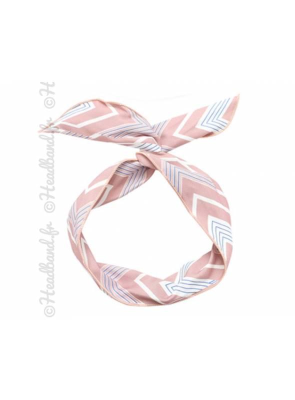 Headband fil de fer chevrons rose