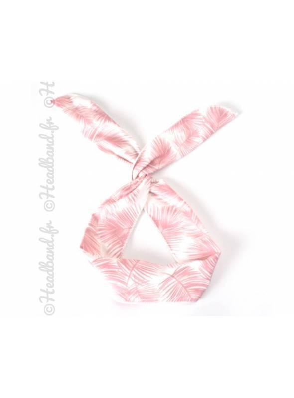 Headband fil de fer feuilles rose