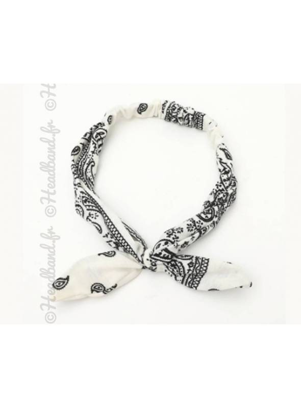 Headband noeud motif bandana blanc