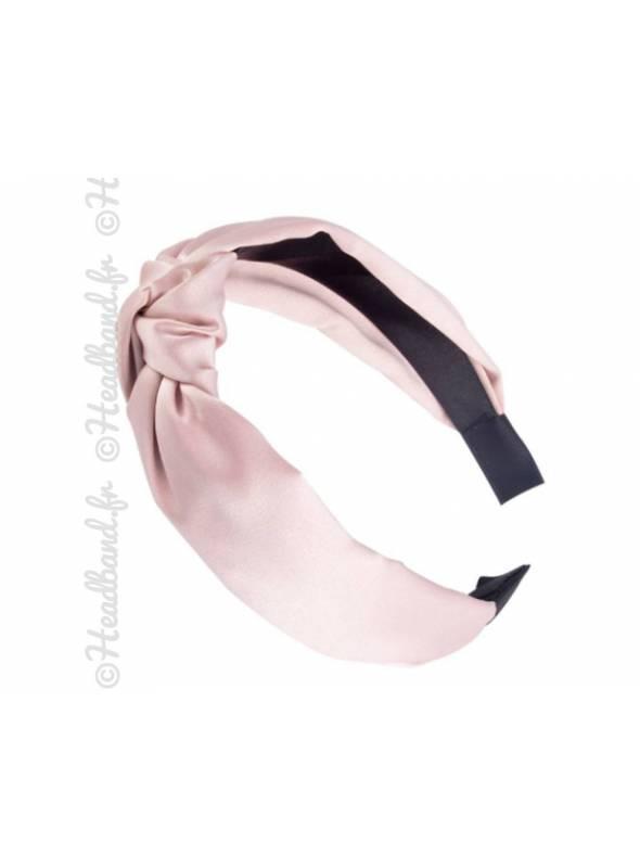 Serre-tête effet noeud satin rose pâle