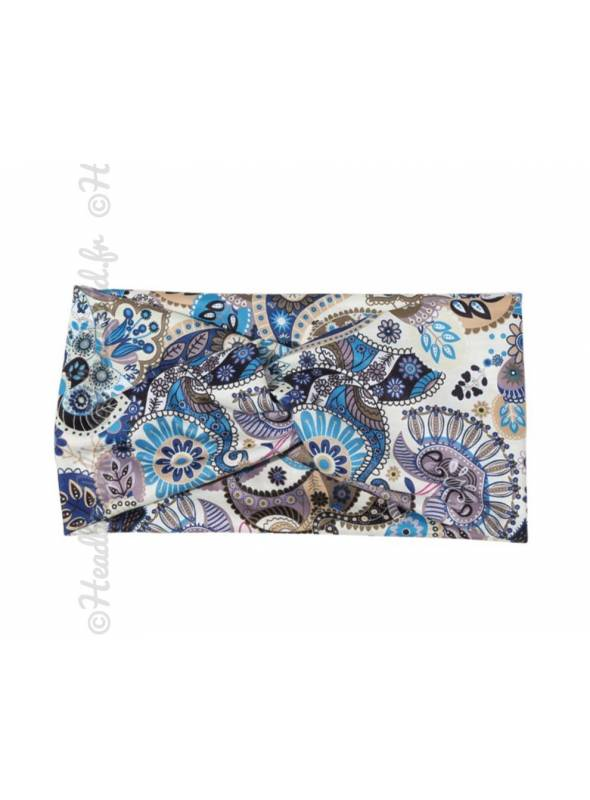 Headband turban large paisley beige