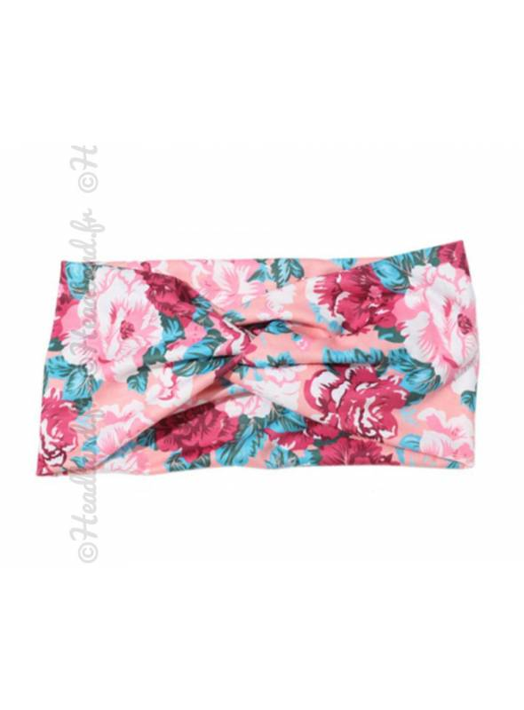 Bandeau large imprimé rosier rose