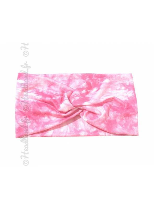 Bandeau tie and dye rose clair