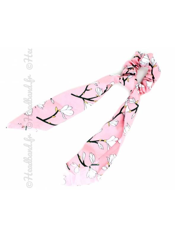 Chouchou foulard fleur cerisier rose