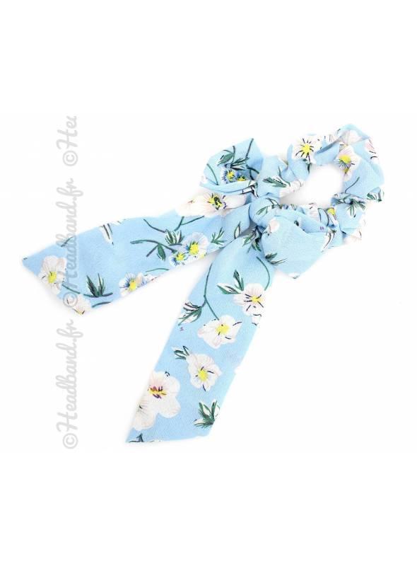 Chouchou mousseline noeud fleur bleu