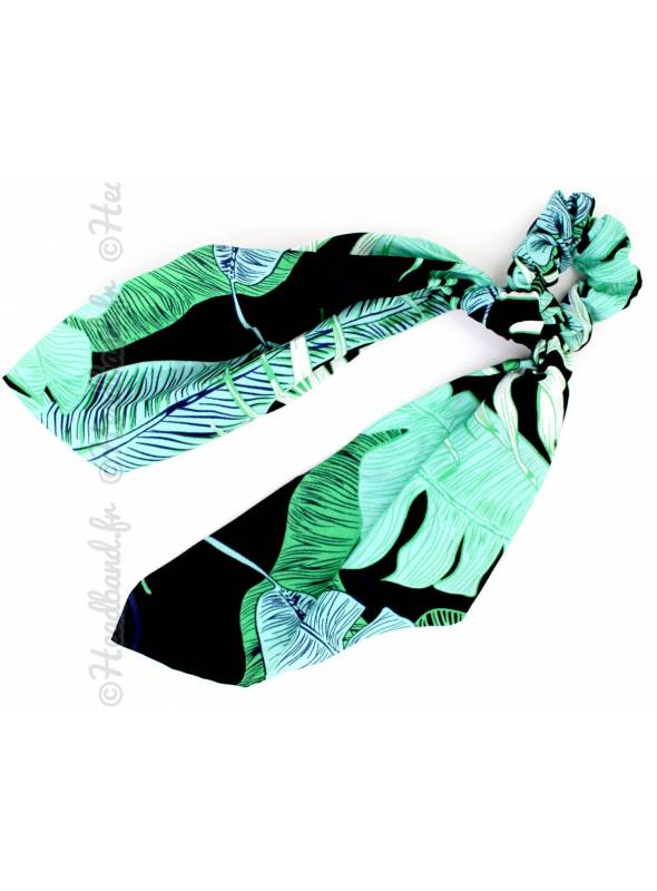 Chouchou noeud motif jungle vert