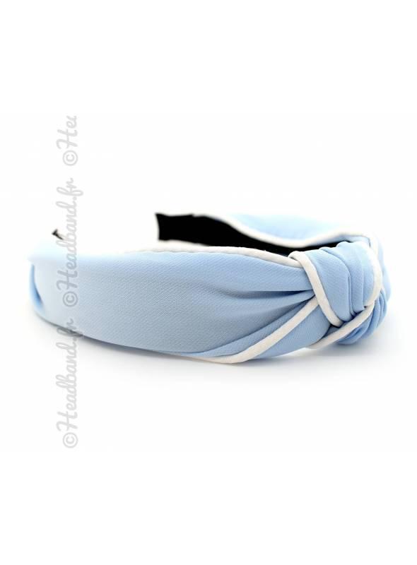 Serre-tête turban bleu ciel coutures blanches