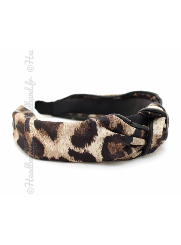 Serre-tête turban motif léopard
