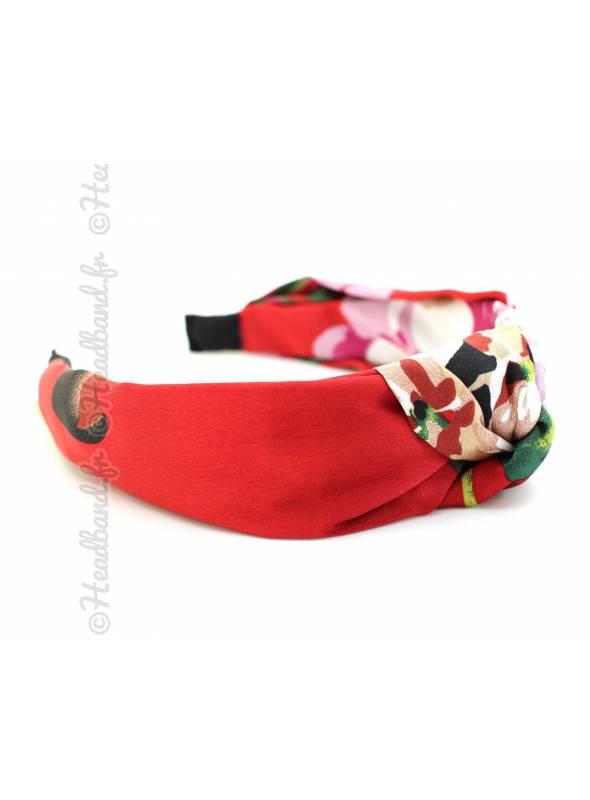 Serre-tête turban fleurs satin rouge